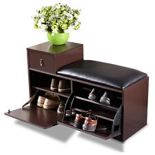 Brown Wood Shoe Bench Shoe Cabinet Rack with Ottoman Seat Closet Shelf Entryway