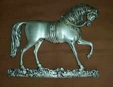 Great Antique cast white metal circus horse doorstop  vintage wall  barn silver
