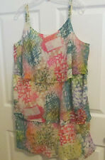 Lane Bryant size 20 womens ruffled tiers spaghetti-strap top multi colors