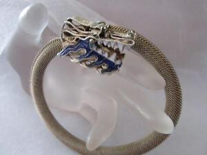 Antique-Vintage Chinese Mesh Silver Enamel Dragon Bracelet