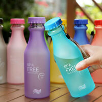 Free Portable Running Frosted Sports Water Bottle Plastic Cup Leak-proof