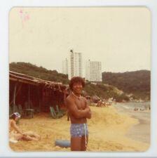 Vintage color photo fit shirtless handsome man in bathing swim suit Gay interest