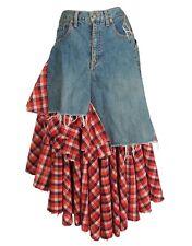 JUNYA WATANABE Comme des Garcons Ruffled Skirt Denim Check Wool Size S
