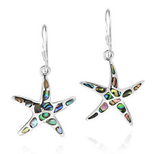 Mystical Sea Life Starfish Abalone Shell Inlay Sterling Silver Dangle Earrings