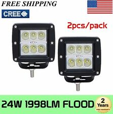 2X 3inch 24W Cree LED Flood Cube Work Lights Driving Pods Off-road Atv Ute Lamp