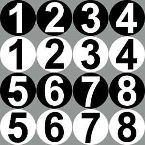 Startnummer Kreis 40cm + Ziffer 30cm Start Nr Nummer Zahl Auto Kart Aufkleber