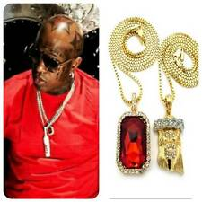 MENS ICED OUT MICRO MINI RUBY JESUS PIECE PENDANT GOLD CHAIN NECKLACE HIPHOP SQ