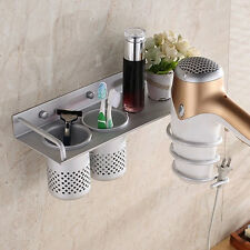 Hair Dryer Storage Organizer Rack Holder Wall Mounted Stand Bathroom Use Set#