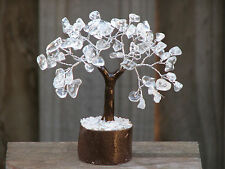 Clear Quartz Crystal Gemstone Tree - 110mm Tall - Wooden Base - Healing Crystal