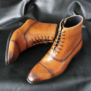 Dress Formal Shoes Men's Lace Up High Top Ankle Boots Brogue Breathable British