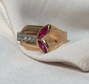 14K ROSE GOLD PLATED MEN'S BRILLIANT ENGAGEMENT & ANNIVERSARY RING 1.03 CT RUBY