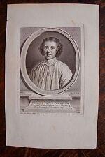 PIERRE FR. LE COURAYER . PORTRAIT, GRAVURE ORIGINALE , 1760