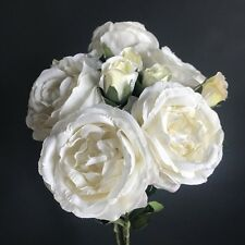 Bunch of 5 Antique White / Ivory Roses, Artificial Luxury Faux Silk Flowers