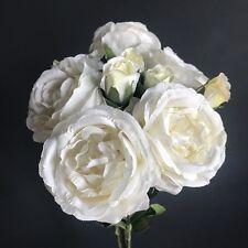 Racimo De 5 Antiguo Blanco/Marfil Rosas, flores artificiales de lujo seda sintética