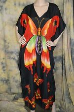 vtg 90s PLUS SIZE gorgeous BUTTERFLY caftan dress red black 1x 2x 3x viscose tie