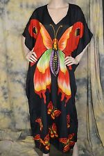 vtg 90s PLUS SIZE gorgeous BUTTERFLY caftan dress red black 1x 2x 3x viscose tie
