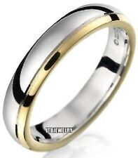 10K  TWO TONE GOLD  MENS WEDDING BAND RING 5MM