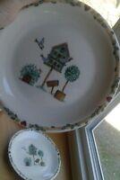 "Thomson Pottery Birdhouse 9 Salad Plates 7 3/4"" Round"