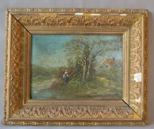19thC French School Barbizon Oil Painting on Card Panel Countryside River