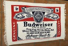 "Vintage Red Blue Budweiser Beer ""Bottle Label"" Beach Towel Beer 54 X 33"