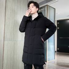 Male Winter Hooded Outwear Cotton Padded Overcoat Thick Warm Mid Length Quilted