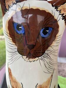 Cats by Nina Lyman Siamese Cat Brown & White, Blue Eyes, Vase EUC