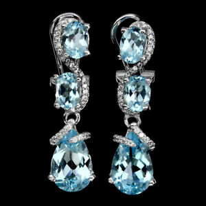 Pear Sky Blue Topaz 12x8mm Cz 14K White Gold Plate 925 Sterling Silver Earrings