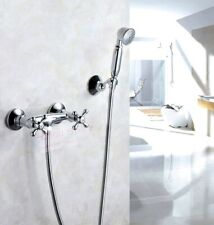 Chrome Bathroom Shower Faucet Double Cross Handle Shower Mixer Tap Wall Mounted