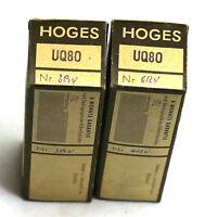 2 Röhren Hoges UQ80 Elektroröhre Tube Valve NOS geprüft BL523
