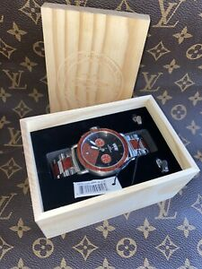 NWOT Original Grain OG-CH-RW-BS-E Men's Redline Black Dial Chronograph Watch