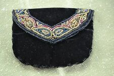 VINTAGE 1980s black velvet black evening purse small red gold black bead trim