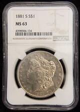 1881-S MORGAN SILVER DOLLAR BU UNC NGC MS63 CHAMPAGNE TONED OBV US COIN K2801