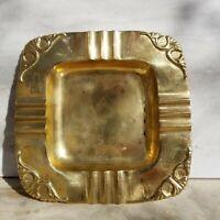 Brass 7+ x 7+ Large Art Deco Nouveau Vintage Hollywood Regency Ashtray India