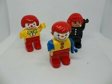 Lego Duplo Lot 3 Vintage Clown Figures and Helicopter Pilot!