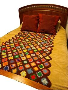 Vintage GRANNY SQUARE CROCHET AFGHAN DIAMOND PATTERN- COLORFUL W/BROWN BASE 30""