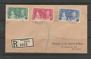 Malta 1937 Coronation FDC, Not First day, Plain, Valletta cds, Imprint address