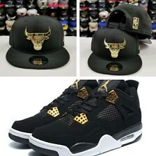 Matching New Era Chicago Bulls Metal Snapback hat For Jordan 4 Black Gold
