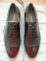 Canali Black Smooth & Stamped Woven Leather Cap Toe Derby Lace Up Shoe - 9 - 42