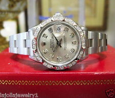 Ladies ROLEX Oyster Perpetual Datejust Diamond Dial and Bezel Silver Dial Watch