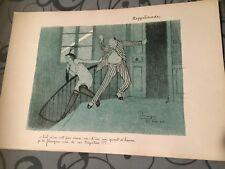 Lithographie originale Jean-Gabriel DOMERGUE - ZEPPELINADE - 1915 -