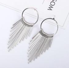 Girl Chic Jewelry Drop Circle Chandelier Long Tassel Crystal Ear Stud Earrings