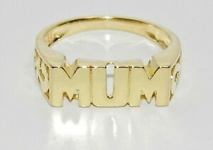 9ct Yellow Gold on Silver MUM Ring - All Sizes Available