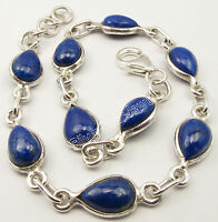"925 Sterling Silver DROP LAPIS LAZULI Bracelet 8.3"" INDIAN JEWELRY STORE NEW"