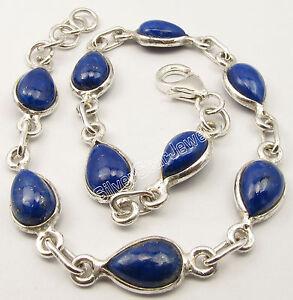 "925 Sterling Silver DROP LAPIS LAZULI Bracelet 8.3"" INDIAN JEWELRY STORE NEW"