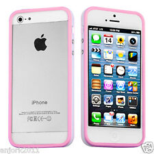 Apple iPhone 5 TPU HYBRID BUMPER w/ METAL BUTTONS ACCESSORY PINK/WHITE