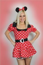 Sexy Womens Halloween Miss Red Minnie Mouse Fancy Mini Dress Costume outfit 8-16