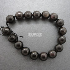 "8"" Natural Gray Black Obsidian Round Beads ap.12mm w/Flash Translucent #11243"
