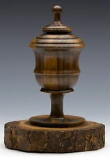 ANTIQUE FINELY HAND TURNED TREEN INKWELL 19TH C.