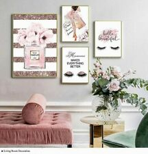 Pink Flower Fashion Trendy Decoration Canvas Painting Modern Wall Art Print