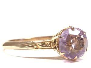 Vintage Ladies 10K Yellow Gold Purple Amethyst Ring - Size 7.5